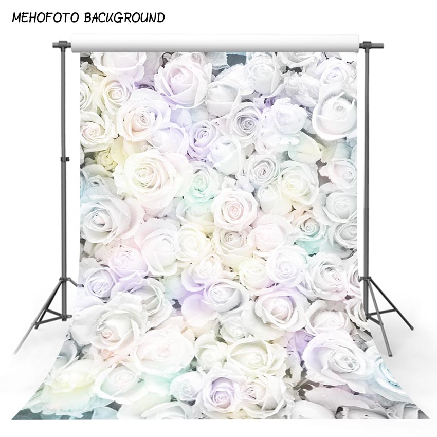 Vinyl Photography Backdrop White Rose Flower Computer Printed Valentine's Day Backgrounds for Photo Studio F-3135 seamless vinyl photography backdrop path with sakura flower tree computer printed nature backgrounds for photo studio f 3167