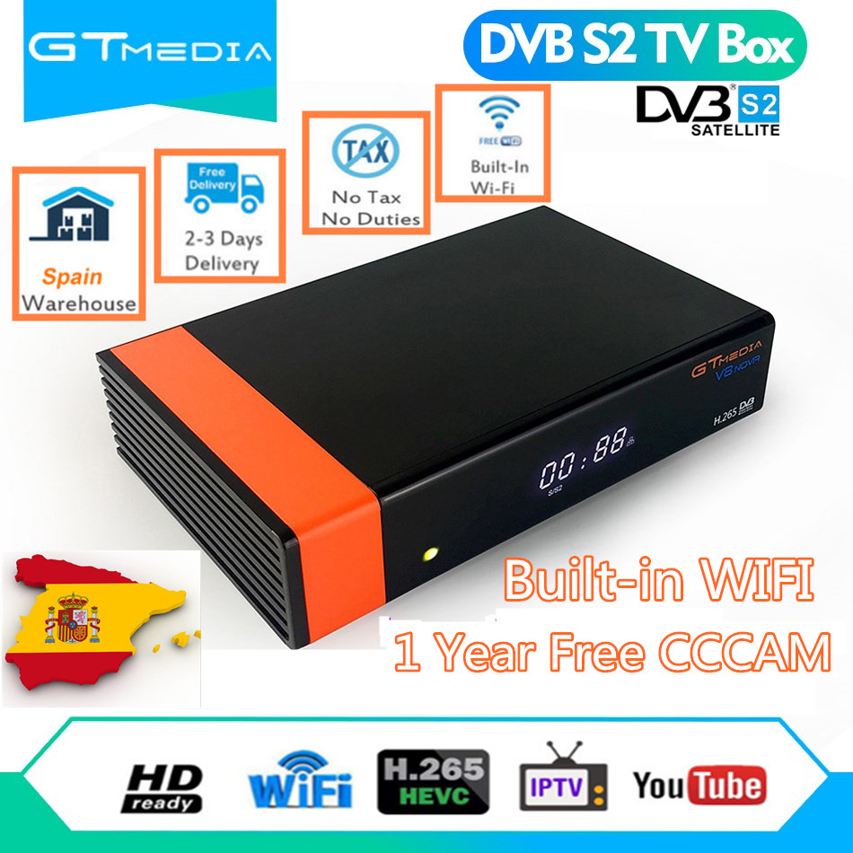 GT media von V8 Nova DVB S2 Freesat Satelliten receiver H.265 eingebaute WIFI 1 Jahr Europa Spanien cccam 7 Clines MU3 TV Box V9 super-in Satelliten-TV-Receiver aus Verbraucherelektronik bei  Gruppe 1
