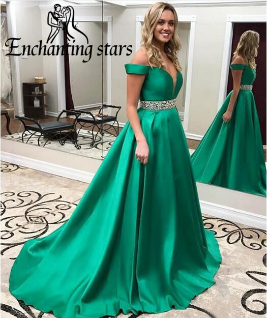 Satin A-Line Evening Dresses Beading Crystals Vintage Runway Fashion Dress Cap Sleeve Sweep Train Prom Gowns - Molibridal_ Store store