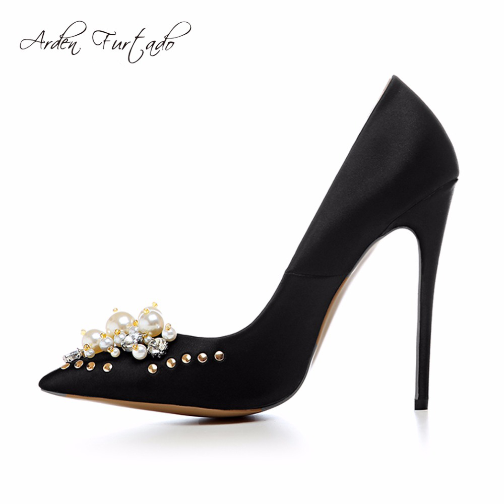 Arden Furtado spring autumn Pearl rivet flower slip on satin sexy high thin  heels 12cm pumps cf3355a9dc5c