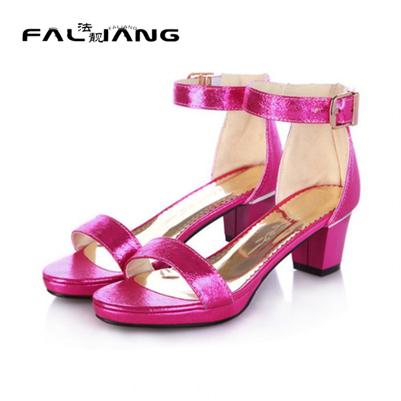 ФОТО 2017 Summer Women Sexy Open Toe Square Mid Heel Chuncky Block Ankle Buckle Dress Sandal Shoes Plus Size 4 Colors