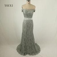 Sexy Off Shoulder Mermaid Evening Dresses 2017 New Arrivals Grey Lace Formal Evening Gowns