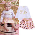 2PCS Baby Girls Clothing Set Long Sleeve T-shirt Dots Skirt Set Pink Color Cute Kids Baby Girl Clothes Summer Outfits
