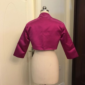 Image 2 - Walk Beside You Fuchsia Bolero Women Party Cape 3/4 Sleeves Shrugs Satin Bridal Jacket Bolero Feminino Adulto Custom Made 2019