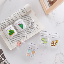 Transparent Earphone Case For Apple AirPods 2 1 Charging Box Cute Cartoon Cactus Girl Hard PC Crystal Cover Bag For Airpods Case