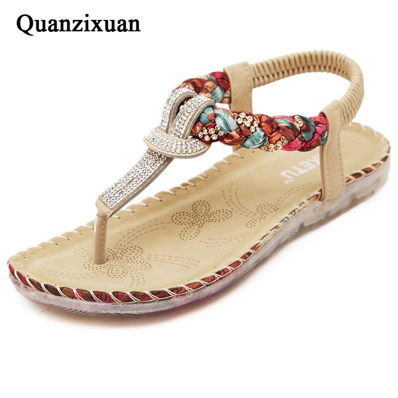 Quanzixuan Women Sandals Floral Woman Flats Sandals Rhinestone Gladiator Sandal Women Shoes Flip Flops