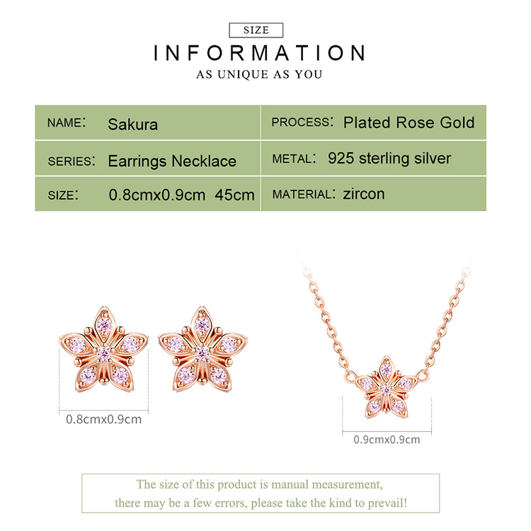 BAMOER 925 Sterling Silver Sakura Pink Flower Pendant Necklaces Women Earrings Star Shape Jewelry Set Wedding Jewelry ZHS098 3