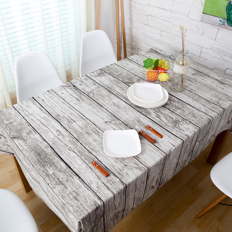 Vintage Wood Grain fabric Table Cloth Rustic Tablecloth ...