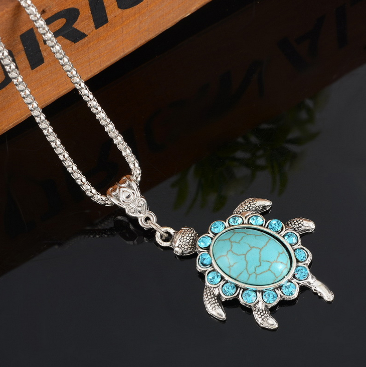 Hot Sale fashion Animal style Blue Turtle Pendant Necklace Women Wild style Chain Necklaces Jewelry Gifts wholesale FreeShipping