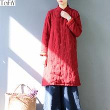ФОТО TaFiY  Silk Cotton Women Winter Dress Vintage Plate Buttons Jacquard Mandarin Collar Cheongsam Quilted Cotton Robe Vestidos