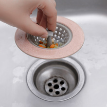 Silicone Wheat Straw Kitchen Sink Strainer Bathroom Shower Drain Drains Cover Colander Sewer Hair Filter