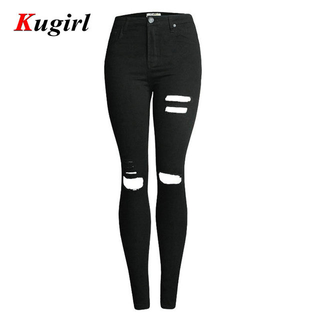 New Fashion Women's Denim Female High Waist Knee Ripped Black Stretch Skinny Jeans For Woman Female Denim Pencil Pants