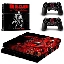 New Skin Sticker Marvel Deadpool For Sony PS4 Console+2 Controllers Skin Decals
