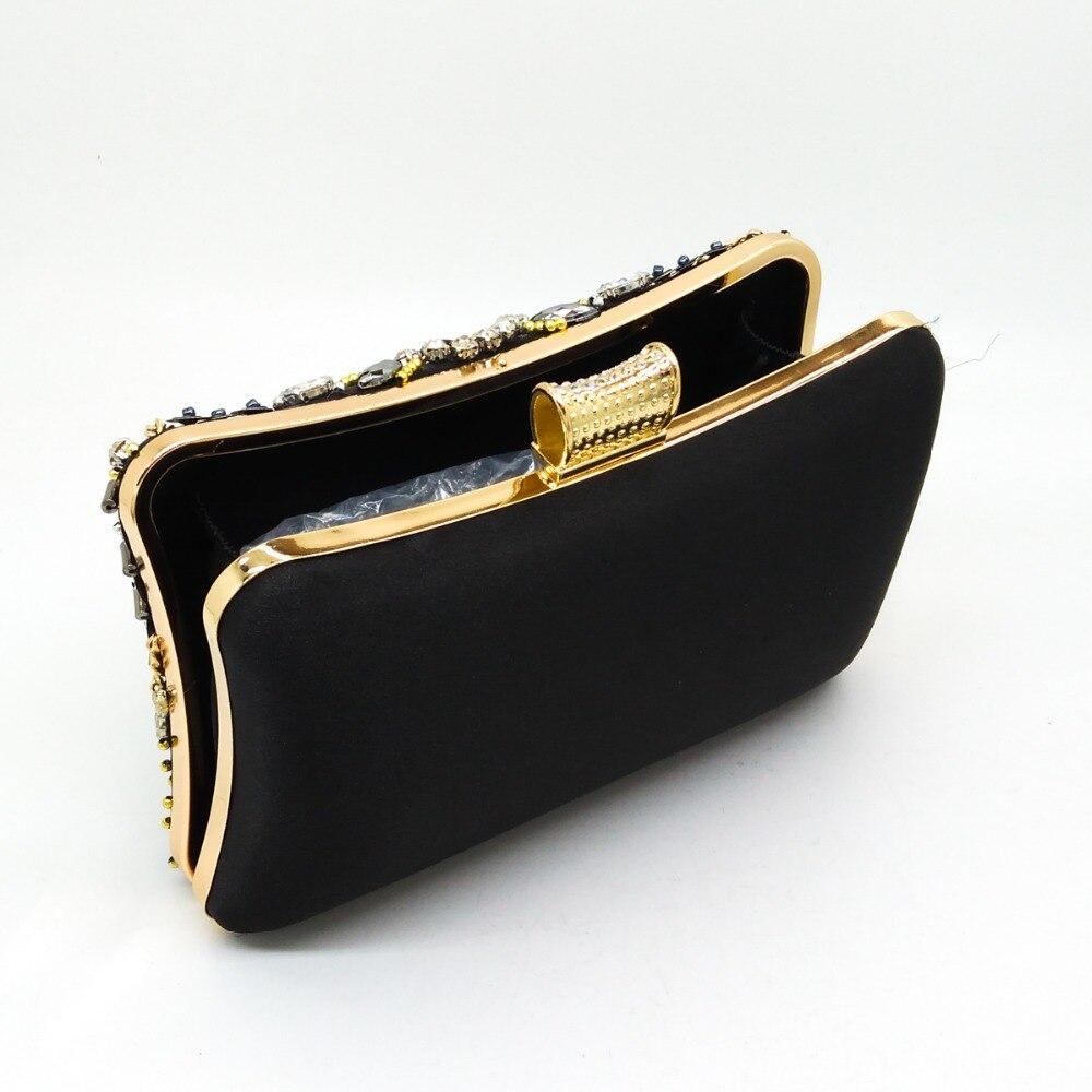 Boutique De FGG Vintage Women Black Beaded Evening Clutch Bags Ladies Box Metal Clutches Wedding Cocktail Party Handbags Purses