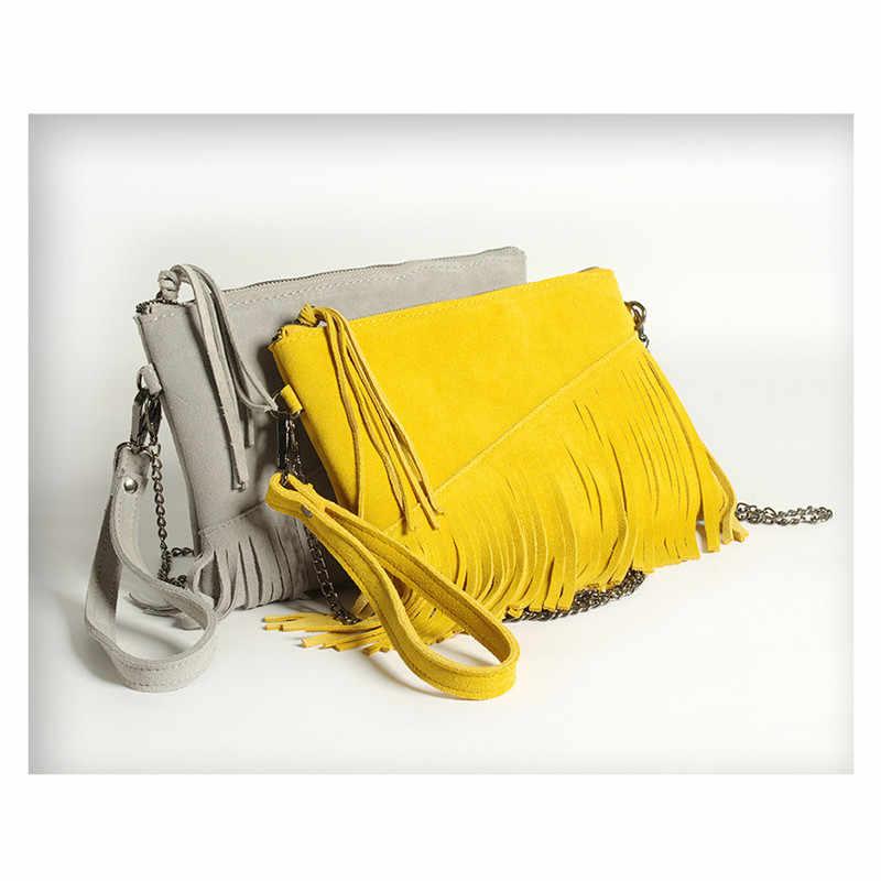 31b28302add6 ... 2019 летние из натуральной кожи сумка через плечо для Для женщин Мода  Женский Малый замши кисточкой ...