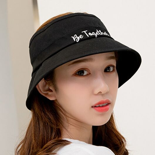 42b0139c New Summer Women's Casual Cotton Topless Sun Hats Outdoor Girls Letter  Embroidery Flap Brim Beach Hats Fishing Travel Caps