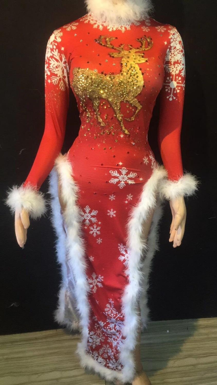 Cheongsam Long Femmes Costume Blanc Stage Rouge Cristaux Noël Performance Nightclub Porter Red Chanteur Bling De Duvet Robe wI8xFPx1q