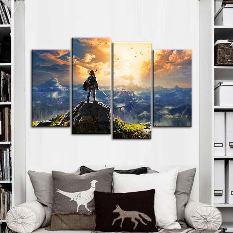 Canvas Pictures Wall Art HD Prints Home Decor 4 Pieces The Legend of Zelda Poster Abstract Game Paintings Living Room Framework