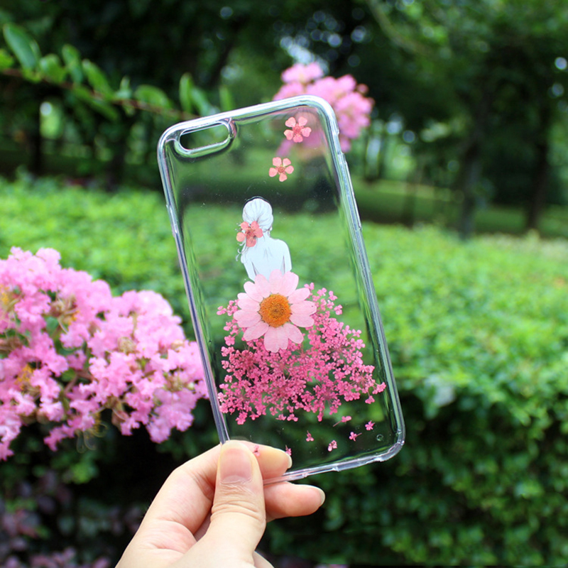 Lovely Gril Dry Handmade Dried Real Flower Transparent Soft Cover For iphone 7 7plus 6S 6 Plus Case TPU Protective Cover