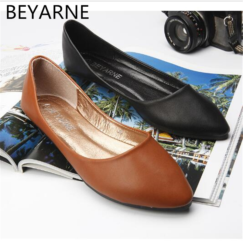 где купить BEYARNE 2018 Spring And Autumn Women Shoes Genuine Leather Flat Heel Casual Slip-on Pointed Toe Shoes Boat Shoes Free Shipping по лучшей цене