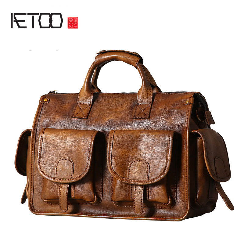 AETOO Original leather men's bag handbag shoulder Messenger bag retro casual hand-made wipe nostalgic old man bag super speed v0169 fashionable silicone band men s quartz analog wrist watch blue 1 x lr626