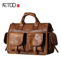 AETOO Original Leather Men S Bag Handbag Shoulder Messenger Bag Retro Casual Hand Made Wipe Nostalgic