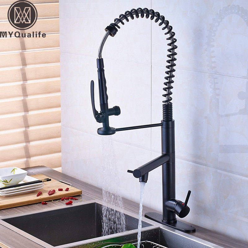 Sturdy Pre Rinse Spring Pull Down Kitchen Sink Faucet Single Handle with Sprayer, Matt Black Pull Out Kitchen faucet preminum black brass single handle pull out sprayer kitchen sink cold hot mixing faucet pull down pull out kitchen faucet