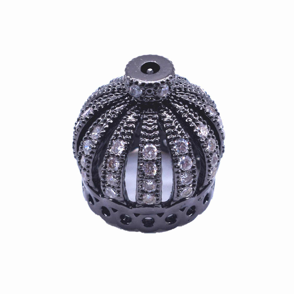 VOQ Gold, Silver, Rose gold, Gun Black Inlaid zircon Crown Caps Beads Supplies for Tassels Earrings DIY Jewelry Findings