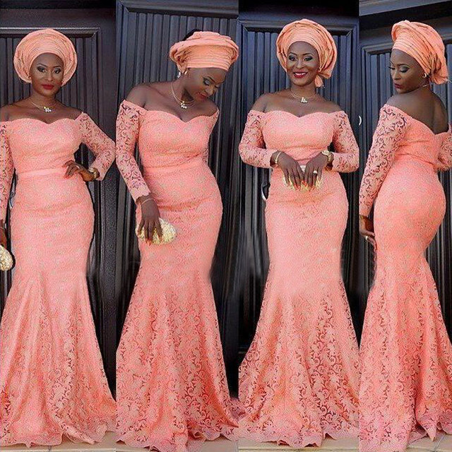 Aso Ebi Style Mermaid Evening Dress 2017 Lace Long Sleeve Nigerian Prom  Party Gowns Plus Size Africa Women Evening Dresses 8518433b3048