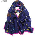 175*65cm 100% Mulberry Silk Scarves Butterfly Printed Scarf High Quality Satin Scarf Bornzing Shawl  Women SC1927