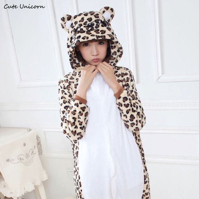 d3ff0f9ef136 Adorable Leopard Bear unisex adults Onesies flannel animal Pajamas one  piece Pyjama Suits womens pijamas cosplay costume Robe