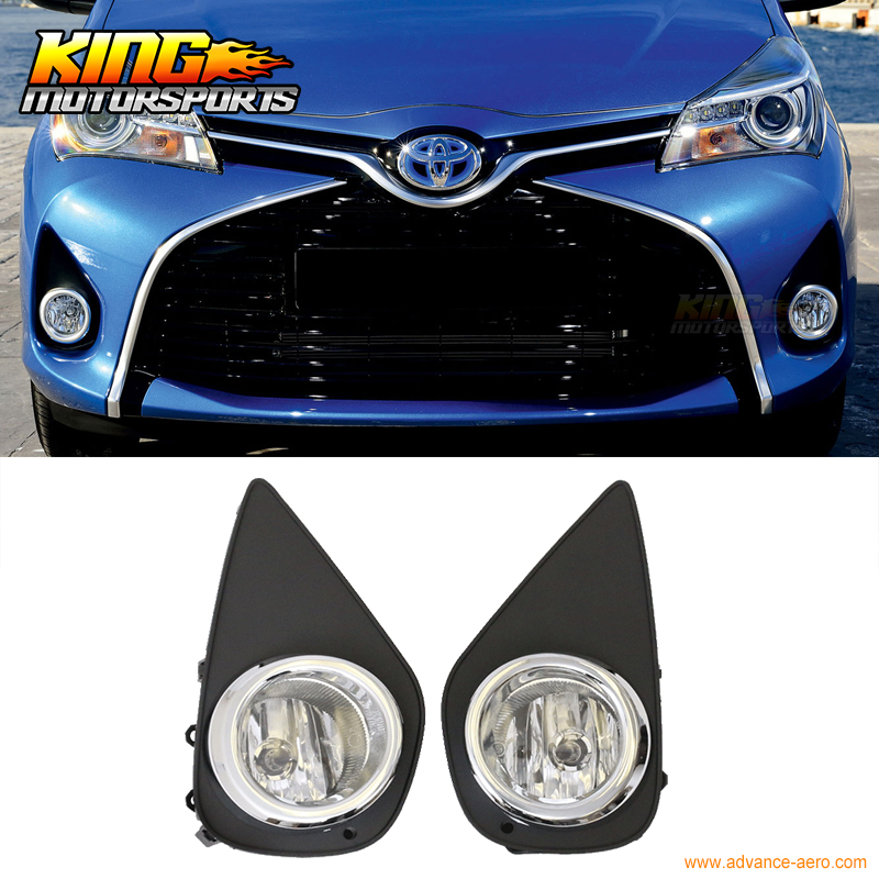Fit For 2015-2016 Toyota Yaris Front Fog Lamp Light Pair Kit LH RH Clear Lens fit for 15 17 gmc yukon denali front fog light lamp chrome bezel lh rh h3 12v 20w clear lens