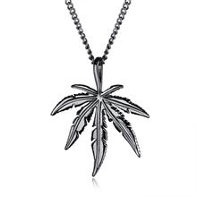 Punk Stainless Steel Maple leaves Pendant Necklace For Men Link Chain Male Jewelry Gift Dropshipping