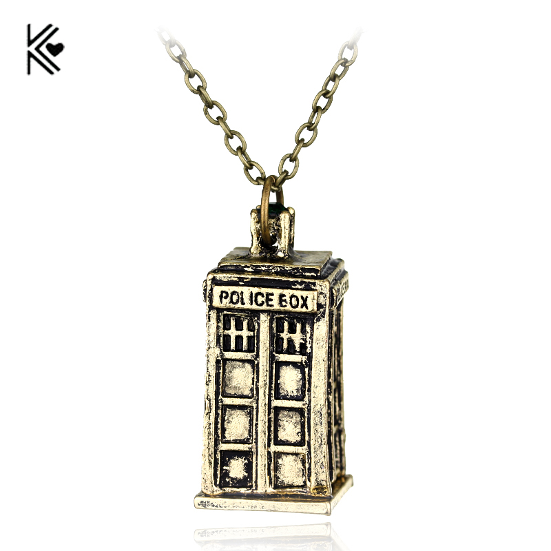 Hot Dr. Mysterious Police Box House Alloy Pendant &Neckalces Doctor Who Necklace Halloween Pendants Movie Jewelry Christmas Gift