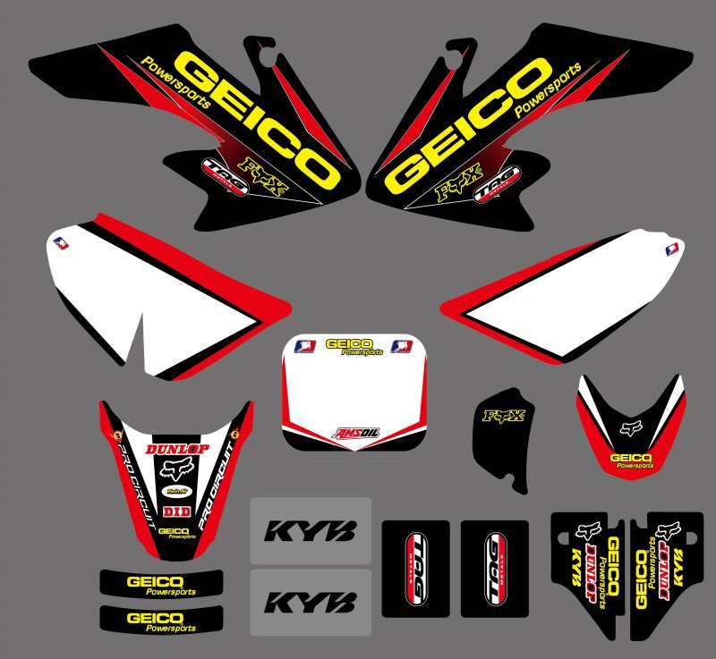New Style TEAM GRAPHICS & BACKGROUNDS DECALS STICKERS Kits For Honda CRF50 CRF50F 2004-2012 Pit Dirt Bike