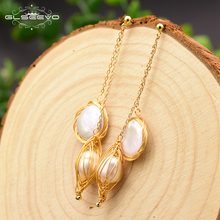XlentAg Original Natural Fresh Water Baroque Pearl Drop Earrings For Women Bride Wedding Engagement Fine Jewelry Kolczyki GE0716 xlentag original design handmade natural fresh water pearl flower drop earrings for women wedding luxury jewelry kolczyki ge0713
