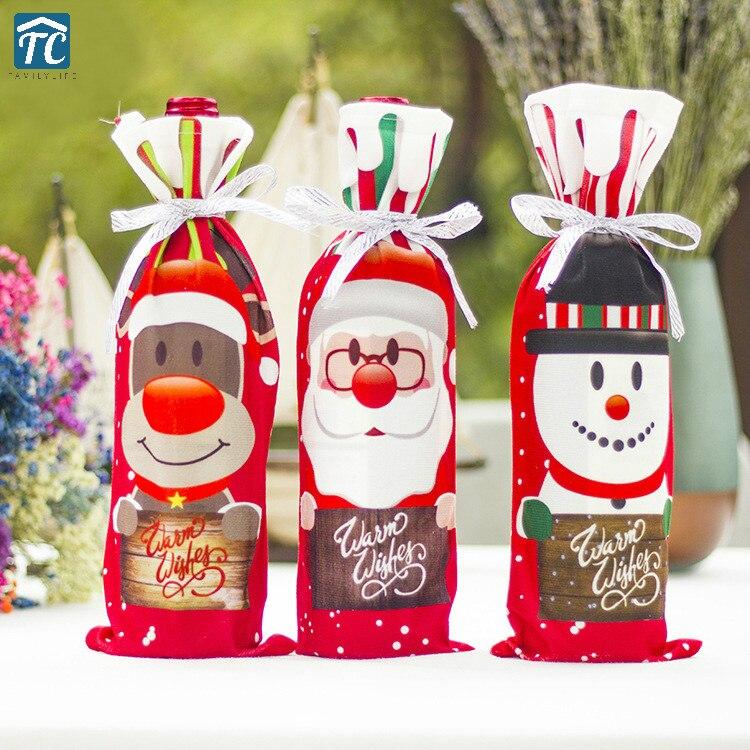 Actief Kerstmis Wijnfles Tas Decorationssanta Claus Sneeuwpop Herten Cover Kleding Flessen Xmas Etentje Thuis Nieuwjaar Tafel