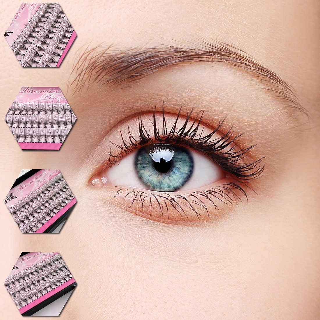 f46c62532b2 ... 8/10/12mm 60 Bundles False Eyelashes Set Individual Cluster Natural  Long Fake Eye ...