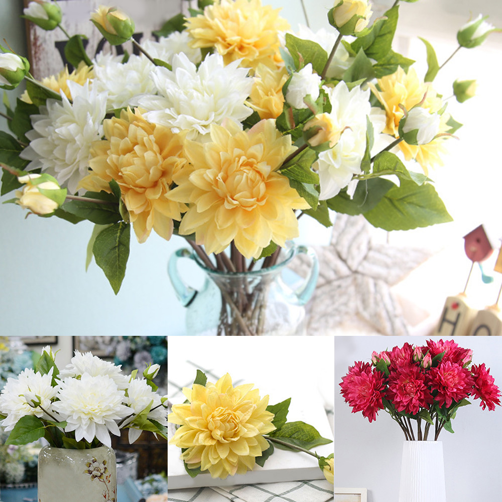 3 colors single dahlia plant wholesale fake flower diy handmade 3 colors single dahlia plant wholesale fake flower diy handmade flower arrangement wedding supplies in artificial dried flowers from home garden on izmirmasajfo