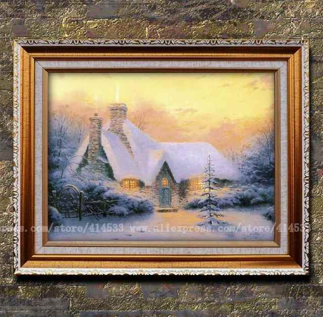 Cottage snow scenery painting office home decor modern - Home interiors thomas kinkade prints ...