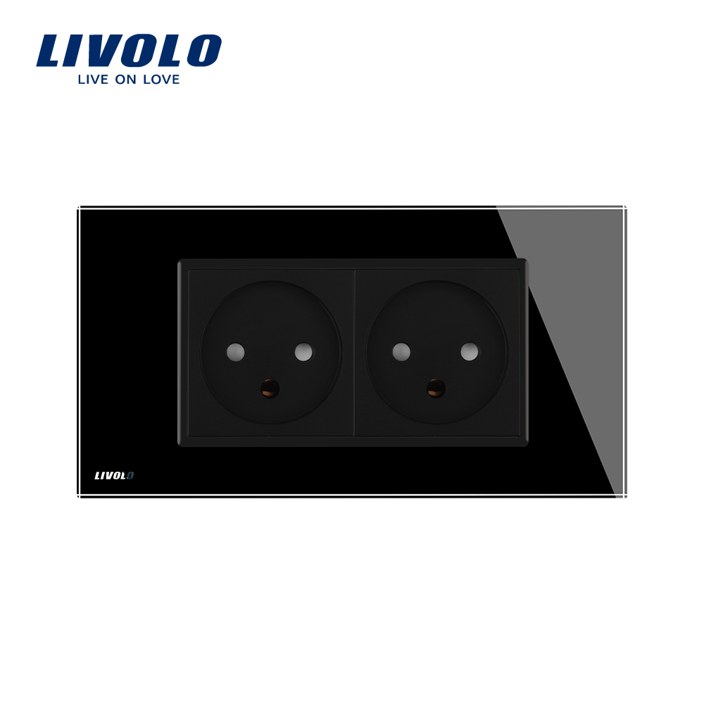 Image 4 - LIVOLO  Double Israel Power 16A Socket, Tempered White/Black Glass Panel, AC 100~250V,Siamesed Design-in Electrical Sockets from Home Improvement