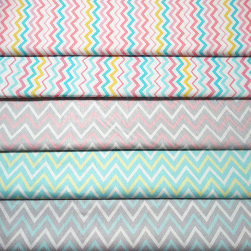 New sale 5pcs 40 50cm colorful rainbow ripple stripe for Sewing fabric for sale