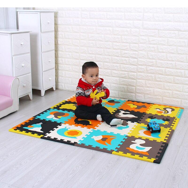Meiqicool tapis de Puzzle de jeu en mousse EVA bébé 16 pièces, tapis et tapis de sol à emboîtement noir et blanc, tapis 16 carreaux pour kis. Bord libre.