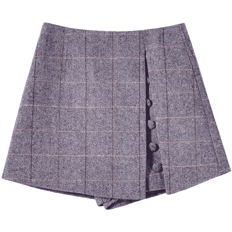 Image 5 - Mishow 2019 Spring Office Lady Shorts Skirts fashion Female Plaid Slim casual button Mini shorts MX18D2451-in Shorts from Women's Clothing