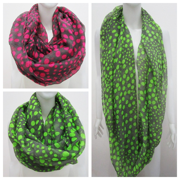 ac88ff9448254 Free Shipping 2017 New Europe Styles Fashion Neon Green Pink Grey Polka Dot Infinity  Scarf Ring For Women/Ladies