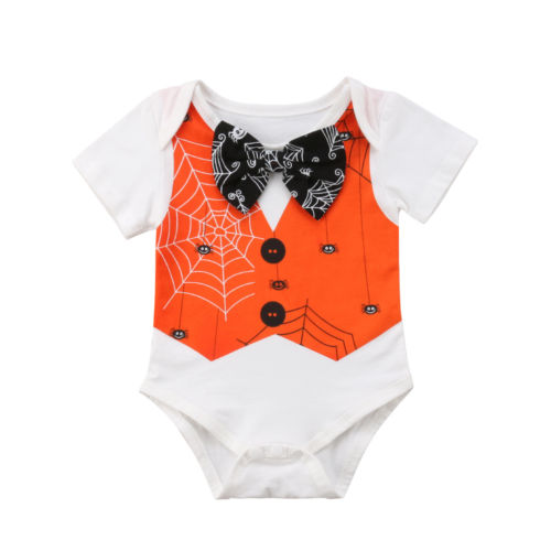 Halloween Infant Kid Baby Boy Girl Bow Tie Spider Bodysuit Short Sleeve Gentleman Sunsuit Outfit Clothes