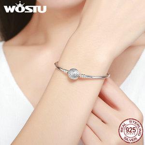 Image 5 - WOSTU คุณภาพสูง 100% 925 Sterling Silver VINTAGE รูปแบบ S กำไลข้อมือผู้หญิง DIY Charm สร้อยข้อมือแฟชั่นเครื่องประดับ CQB013