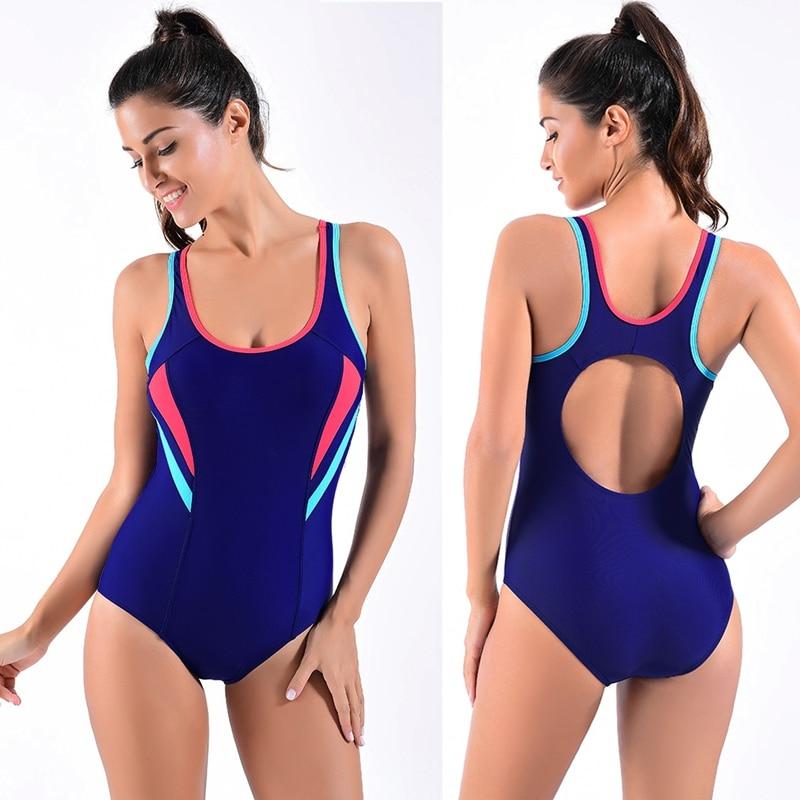 Deep Blue One Piece Swimsuit Purple Women Swimwear Female patchwork Sport Bodysuit High QUality Bathing Suit Monokini deep blue