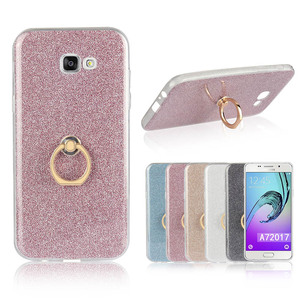 Fashion Silicone Holder Case For Samsung Galaxy A7 2017 Transparent Soft TPU Glitter Colorful Luxury Ring Case For Samsung A720F
