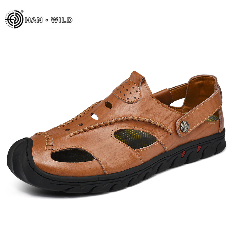 2018 Summer Men Fashion Sandals Genuine Cow Leather Breathable slides Sandals Sneakers Sandalias Hombre Native Mens Beach Shoes